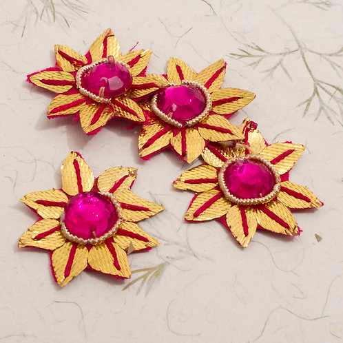 Gold and Pink Embroidered Flower