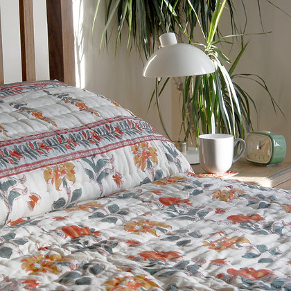 Red and Orange Scrolling Flower Jaipuri Quilt Double