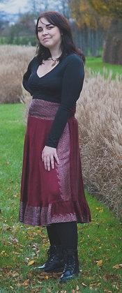 Red Embroidered Vintage Sari Skirt Short