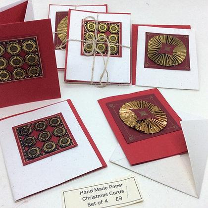Hand Made Christmas Cards  - Set of 4