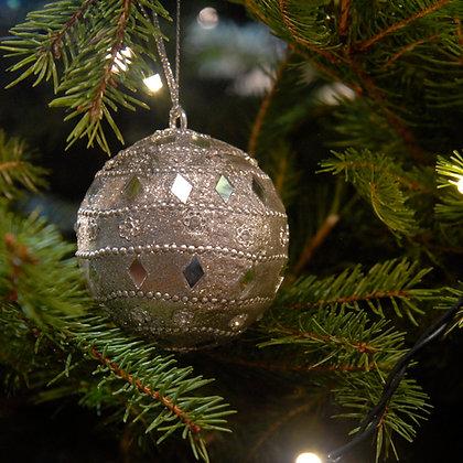 Mirror Christmas Bauble Silver