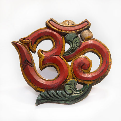 Small Painted Wooden Om