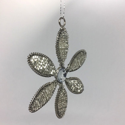Silver Flower Christmas Decoration