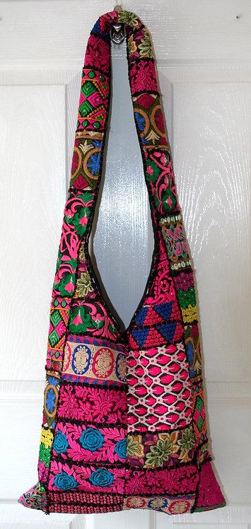 Pink on Black Patchwork Bag