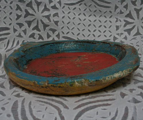 Painted Hand Carved Wooden Chapati Bowl
