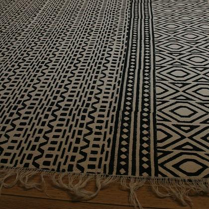 Block Printed Hand Weave Dhurry Rug