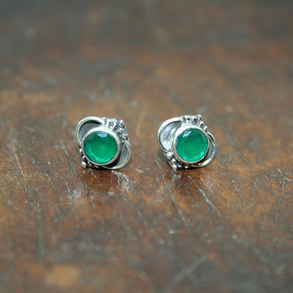 Detailed Green Onyx Studs