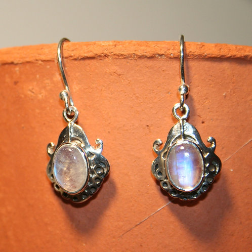 Rainbow Moonstone Earrings with Dotty Silver Detail