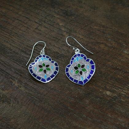 Triple Heart Flower Enamel Earrings