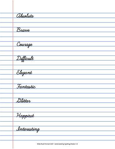 Spelling Sheets 1.0 - Wide Rule, Cursive