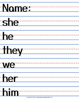 Spelling Sheets 1.0 - Primary Portrait Print