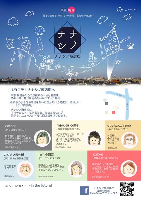 「ようこそ!ナナシノ商店街へ」 はじめましてチラシ 2019.7.1