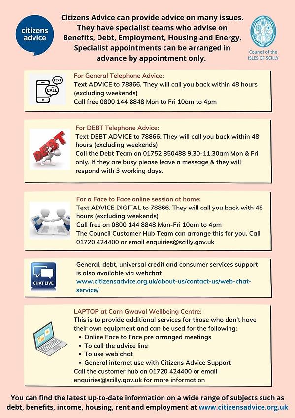 Citizens Advice information 2021
