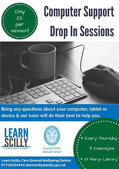 Computer support drop in session poster