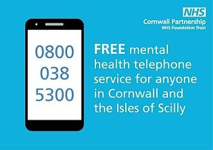 Mental Halth telephone service 0800 038 5300
