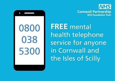 Mental health telephone service 0800 038 5300