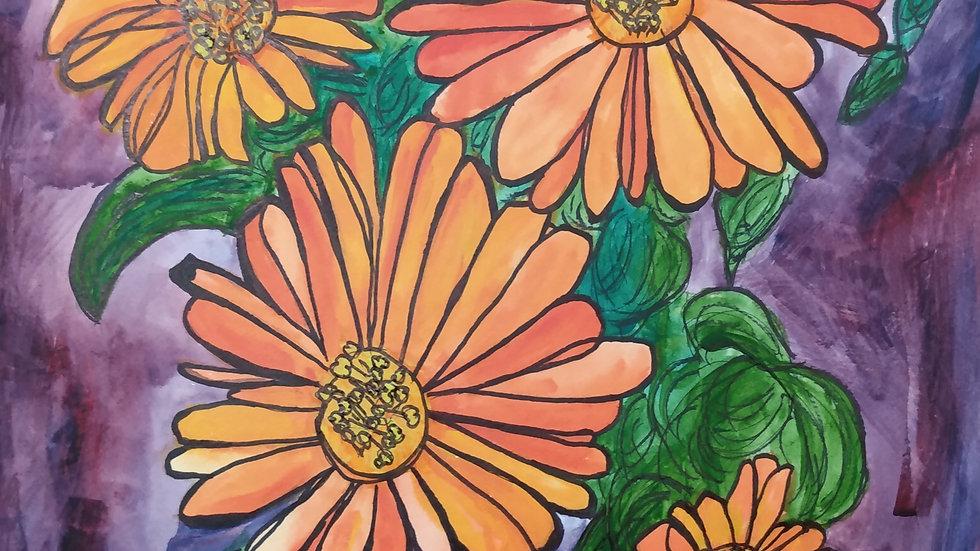 Orange Daisies: Original Watercolor