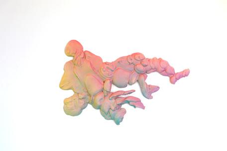 """tangled flavor"" acrylic on hydrocal, h24""x40""x2.5"", 2020"