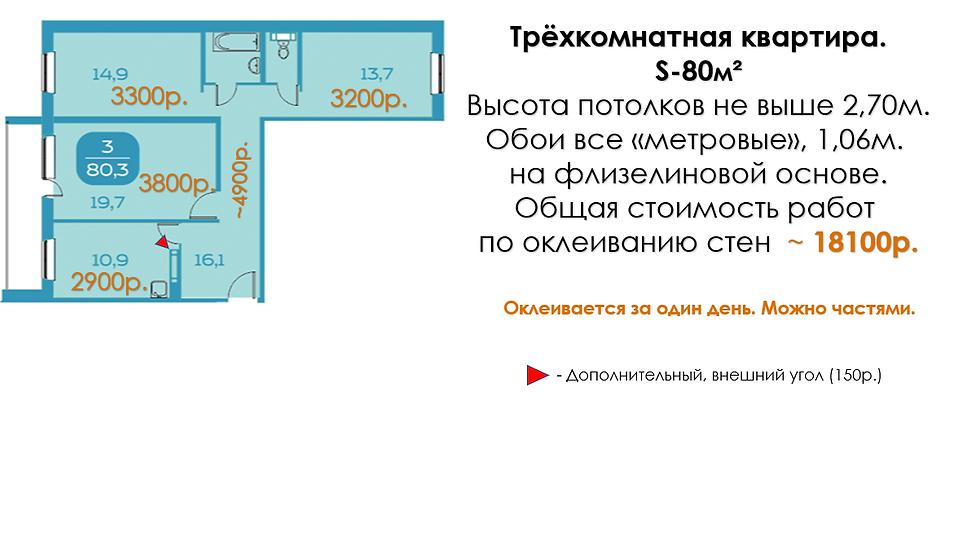 Поклейка обоев в трёхкомнатной квартире