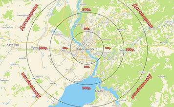 Ориентировочная карта транспортных для Новосибиска.