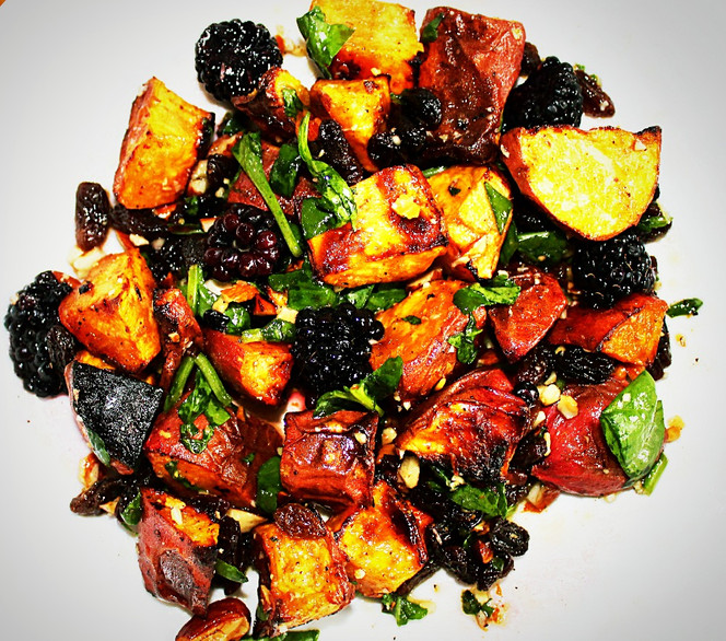Sweet Potato Salad with Blackberries