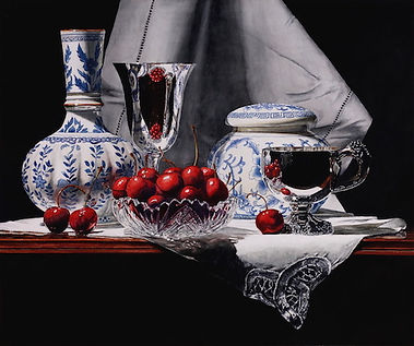 Cherries, Silver & Chinese Porcelain 20x