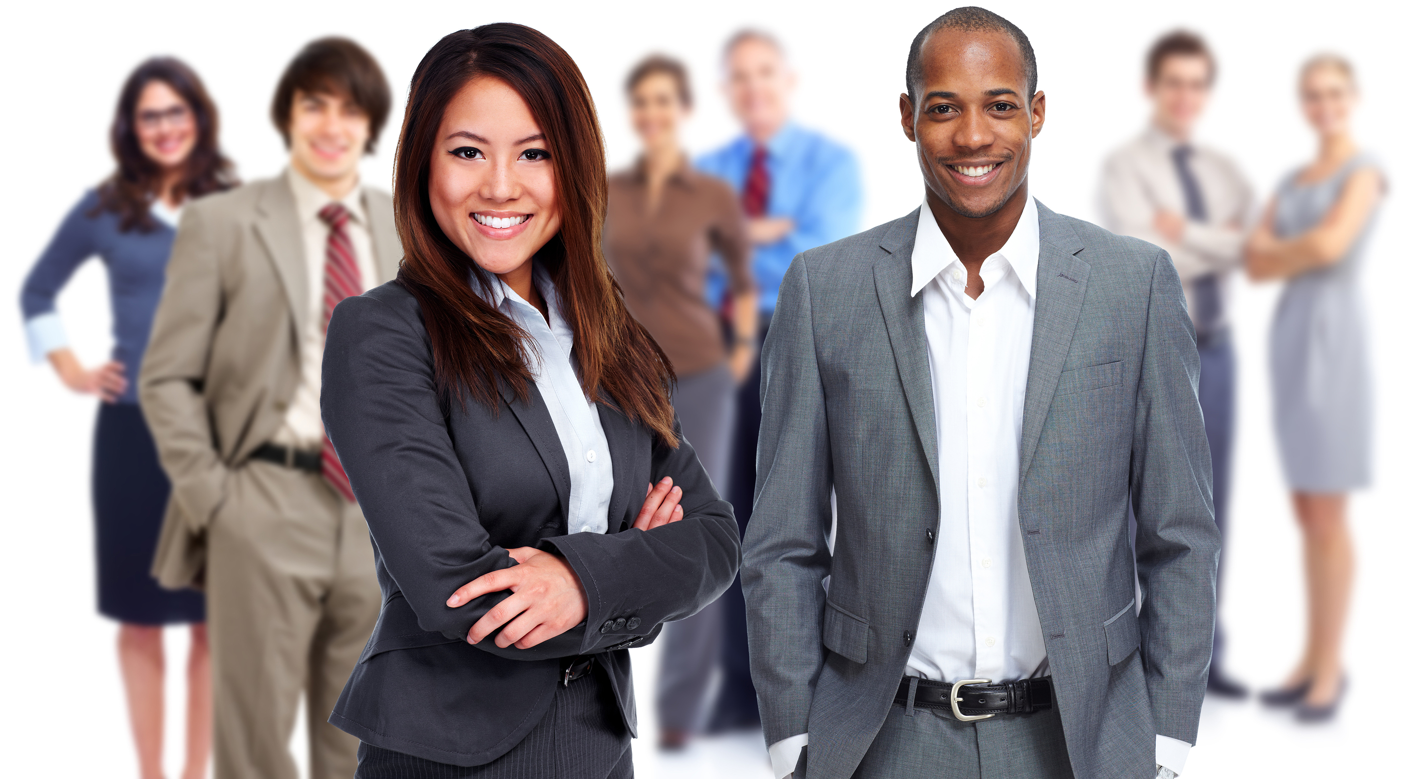 Group of business people isolated white