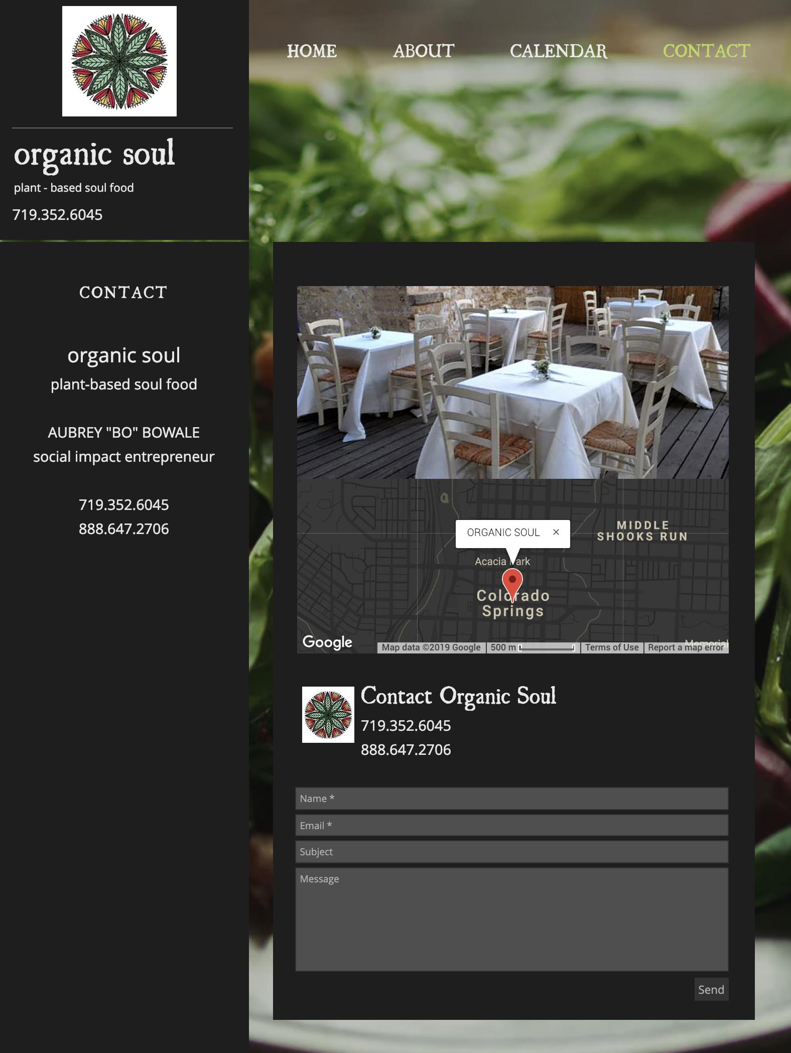 Black contact website form