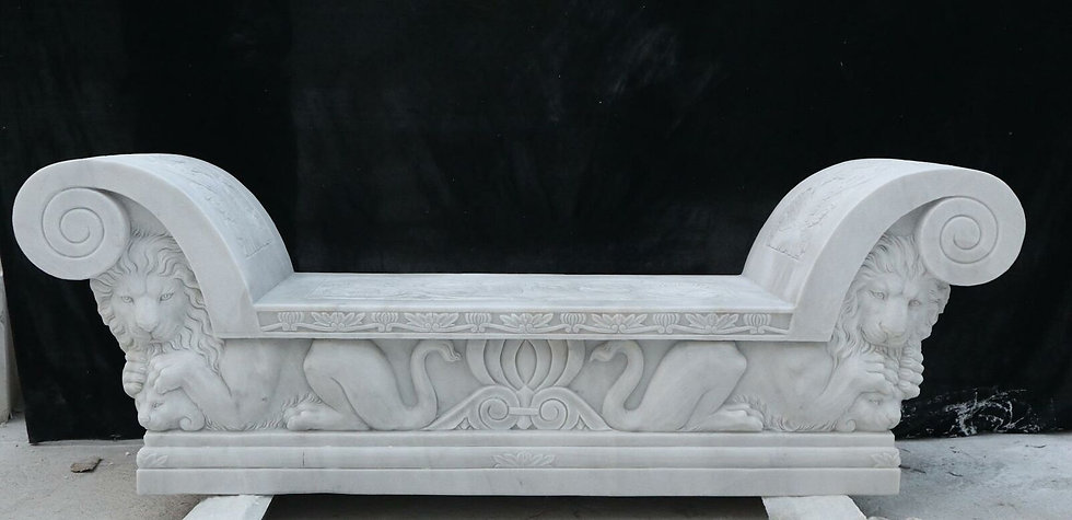 Heavy Carved Marble Carved Bench