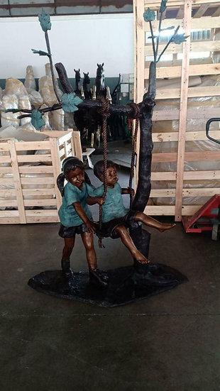 Bronze Children on Swing Statue