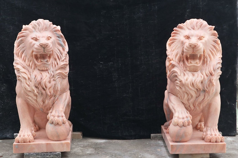 Marble Carved Lion Statues
