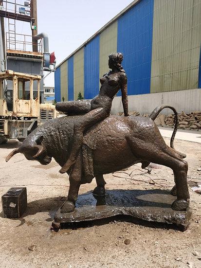 Bronze Girl  on a Bull Statue