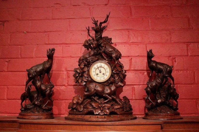 Carved Walnut Black Forest Clock Set