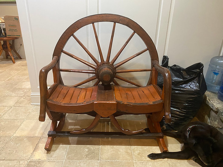 Beautiful Wagon Wheel Bench