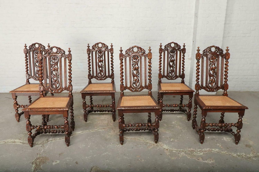 6 Oak French  Dining Room Chairs