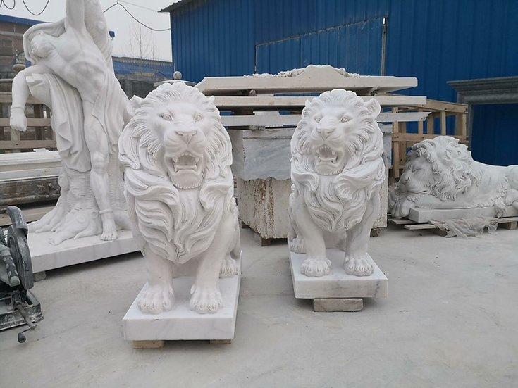 Marble Seated Lion  Statues