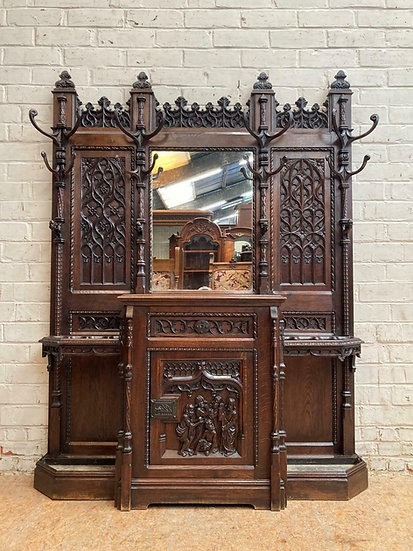 Gothic Carved French Oak Hall Stand