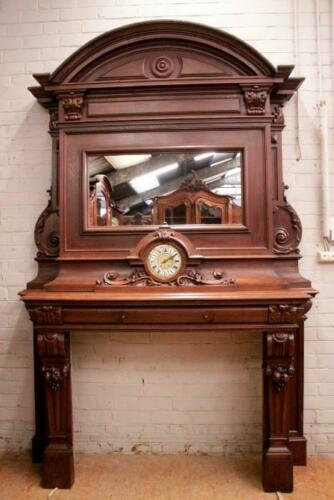 Carved Walnut Antique French Fireplace Mantel