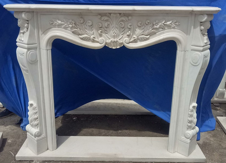 Hand Carved Marble Fireplace Mantel