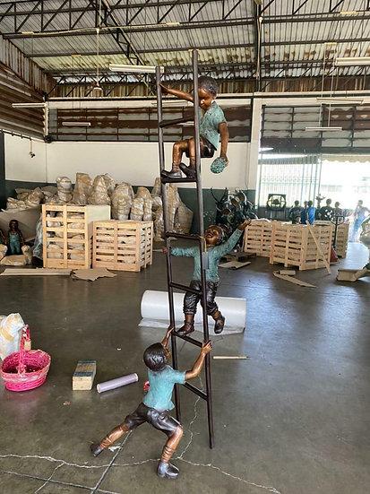 Bronze Children on a Ladder Statue
