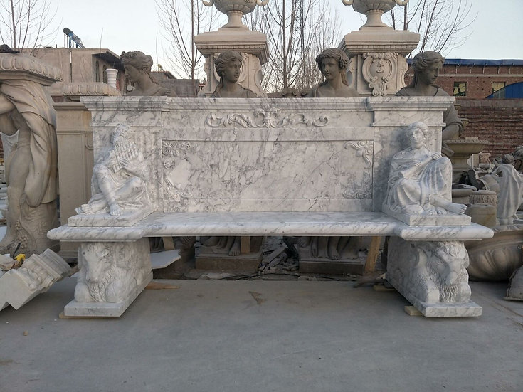 Carrara Marble Carved Bench
