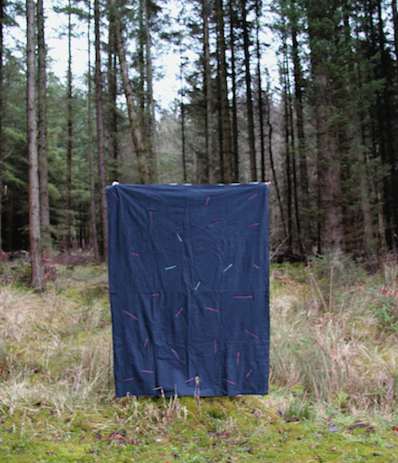 Machine Embroidered sounds of the forest, on hand painted cotton and linen.