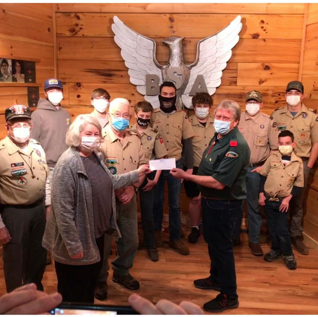 Boy Scout Troop 77 Check Presented February 2021