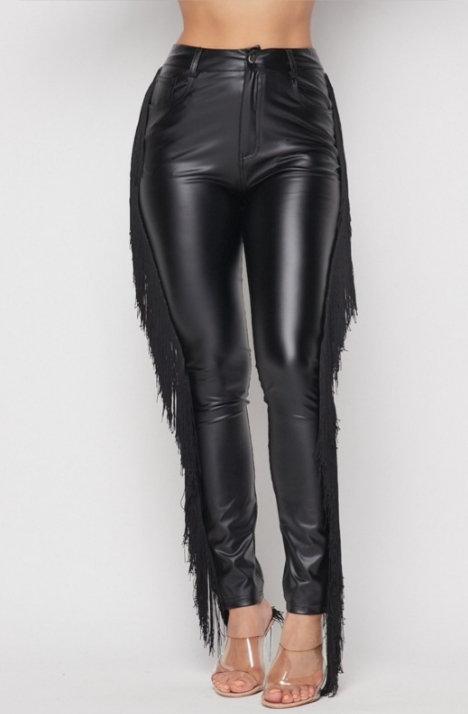 Black faux leather fringe pants