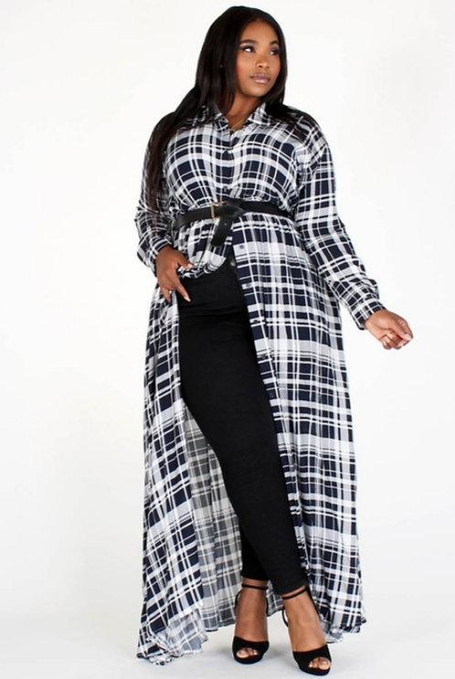 Plaid Maxi Dress-Plus
