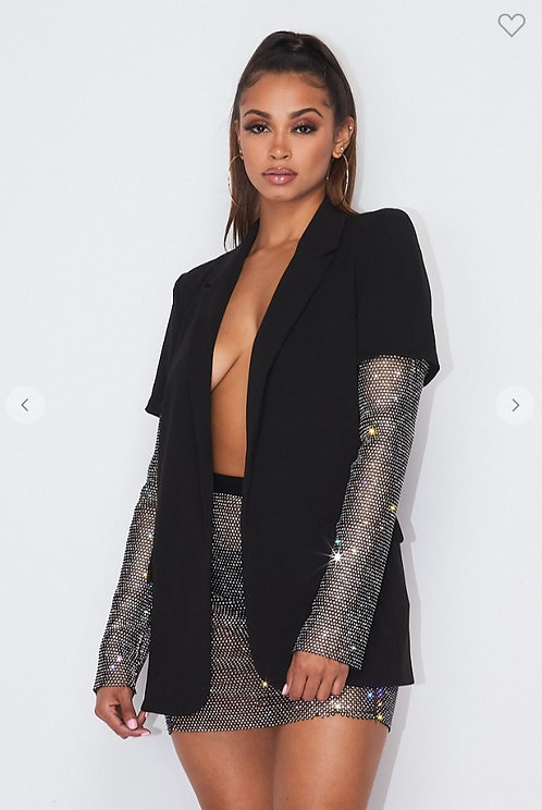 Blingy Sleeves Black Blazer