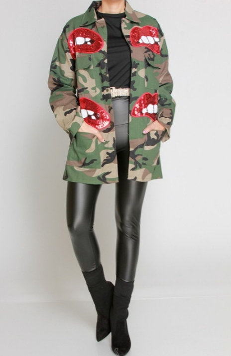 Lip Sequin Camo Jacket