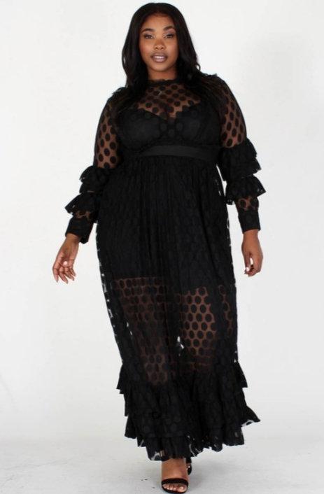 Black Sheer Maxi Dress - Plus