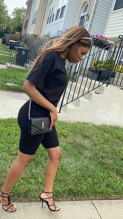 Black T-Shirt Short Set