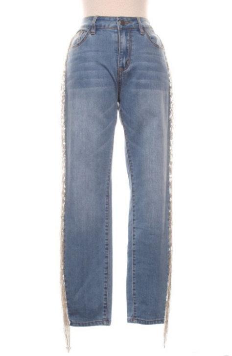 Demin Jeans Side Fringe